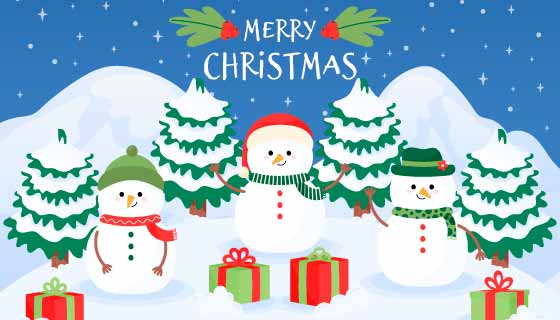 手绘雪人圣诞节背景矢量素材(AI/EPS)