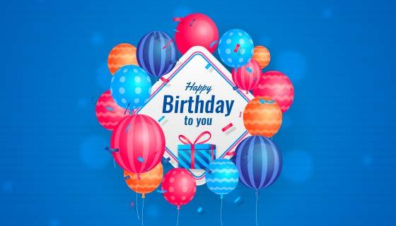 多彩气球生日快乐背景矢量素材(AI/EPS)