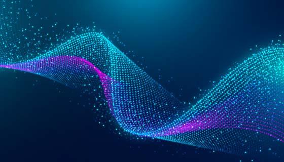 抽象粒子波浪背景矢量素材(AI/EPS)