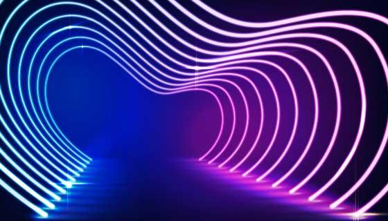霓虹灯舞台灯光背景矢量素材(AI/EPS)