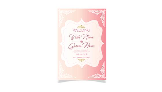 粉红色婚礼卡片矢量素材(EPS)
