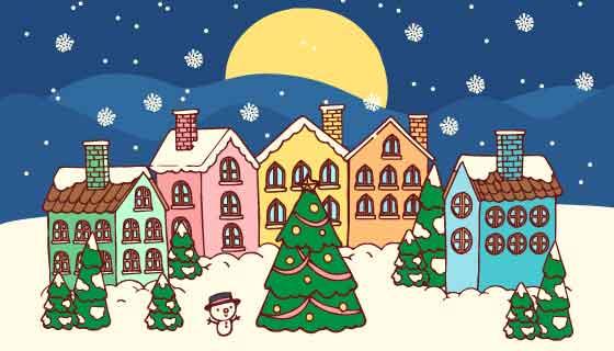 手绘风格圣诞小镇矢量素材(AI/EPS)