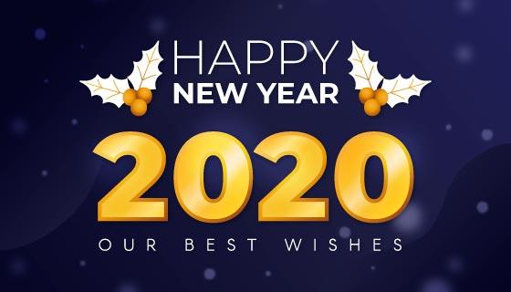 金色2020新年快乐背景矢量素材(AI/EPS)