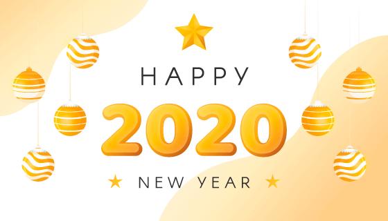 圣诞球2020新年快乐背景矢量素材(ai/eps)