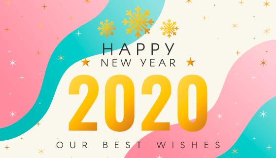 流体设计2020新年快乐背景矢量素材(AI/EPS)