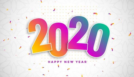 渐变设计2020新年快乐背景矢量素材(EPS)