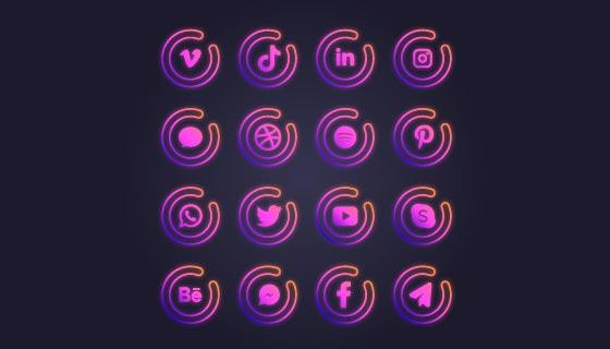紫色渐变社交媒体图标矢量素材(AI/EPS/PNG)
