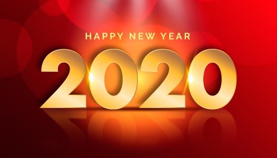 金色2020新年快乐矢量素材(AI/EPS)