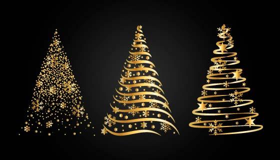 抽象金色圣诞树矢量素材(AI/EPS/PNG)