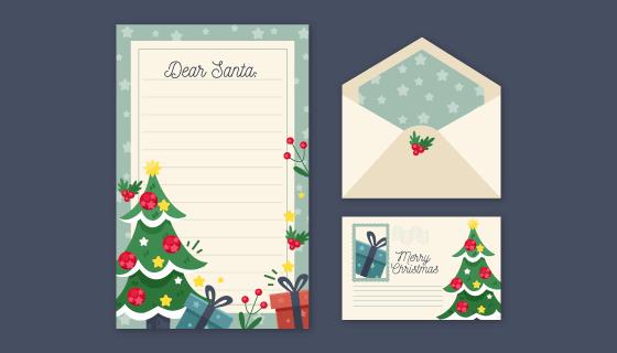 圣诞节信封信纸明信片矢量素材(AI/EPS/PNG)
