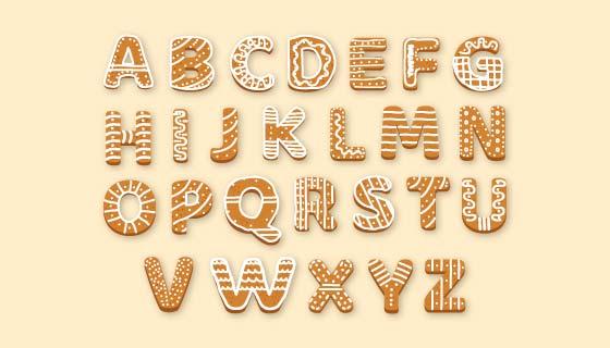 姜饼圣诞节字母矢量素材(AI/EPS/PNG)