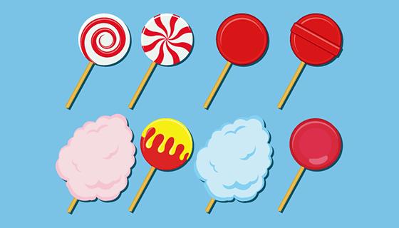 卡通棒棒糖棉花糖矢量素材(EPS/SVG)