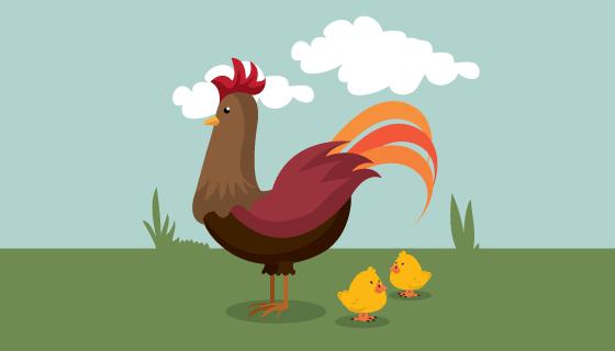 扁平风格公鸡和小鸡矢量素材(EPS)