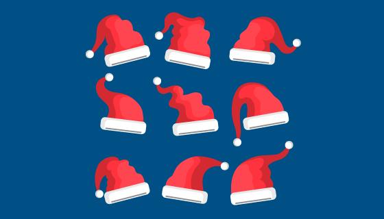 扁平风格圣诞帽矢量素材(AI/EPS/PNG)