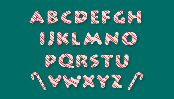 圣诞节糖果风格字母矢量素材(AI/EPS/PNG)