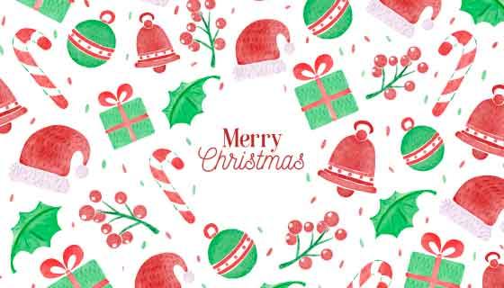 水彩风格圣诞节元素背景矢量素材(AI/EPS/PNG)