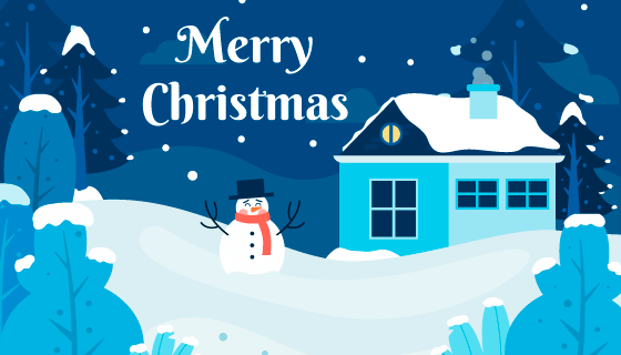 扁平风格雪景圣诞节背景矢量素材(AI/EPS)