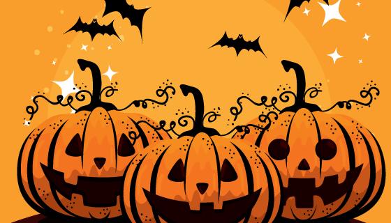 南瓜和蝙蝠万圣节矢量素材(EPS)