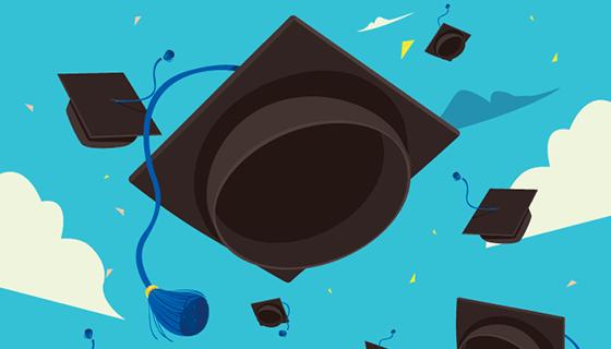 毕业帽与天空背景矢量素材(EPS/AI)