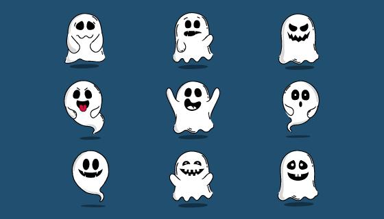 手绘风格万圣节幽灵矢量素材(AI/EPS/PNG)