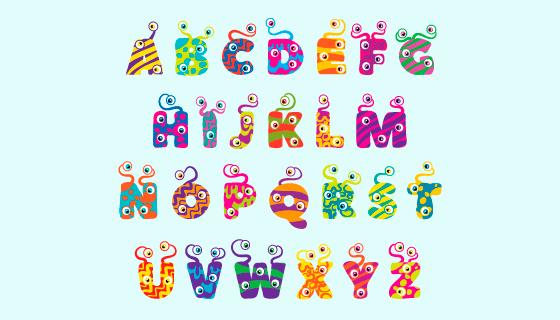 可爱的万圣节怪物字母矢量素材(AI/EPS/PNG)