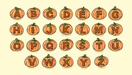 可爱的万圣节南瓜字母矢量素材(AI/EPS/PNG)