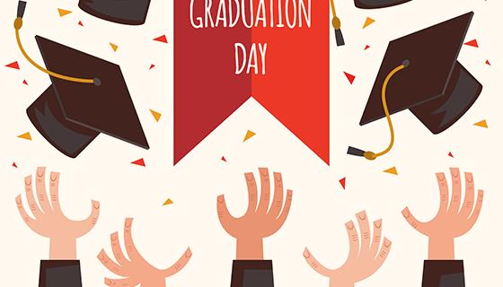 手扔毕业帽派对背景矢量素材(EPS/AI)