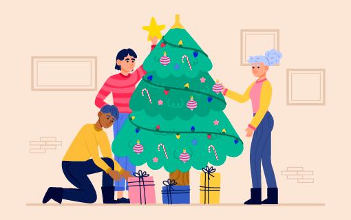 正在装饰圣诞树的人们矢量素材(AI/EPS/PNG)