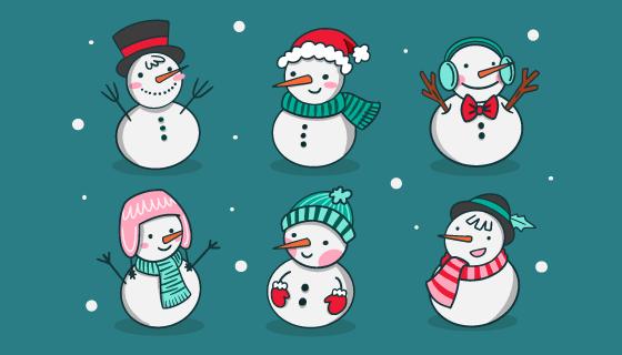 手绘可爱的雪人矢量素材(AI/EPS/PNG)
