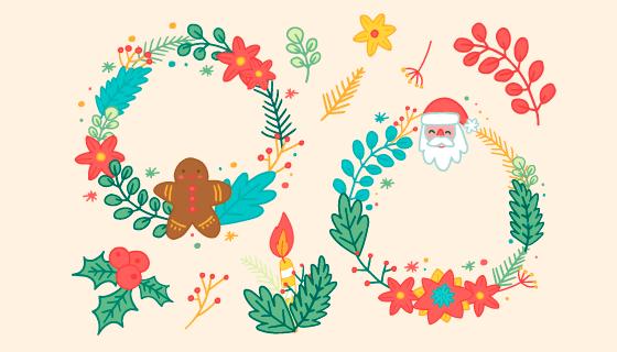 手绘风格圣诞节花圈矢量素材(AI/EPS/PNG)