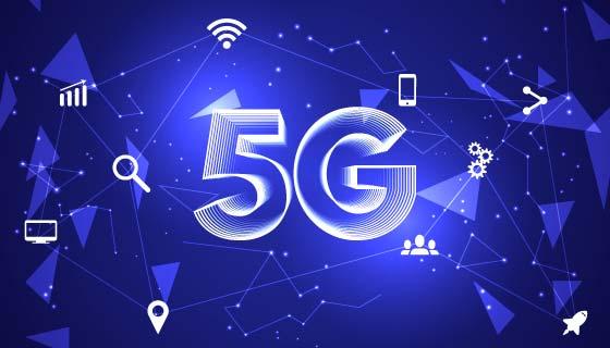 蓝色5G概念背景矢量素材(AI/EPS)