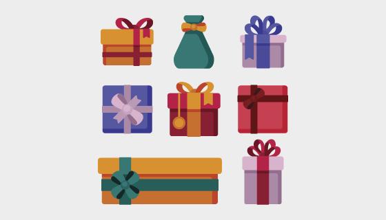 扁平风格圣诞节礼物矢量素材(AI/EPS/PNG)