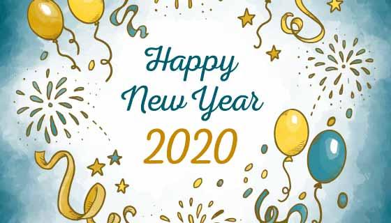水彩风格气球烟花2020新年快乐矢量素材(AI/EPS)