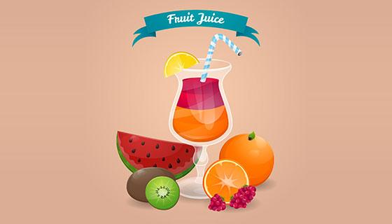 饮料和水果背景矢量素材(EPS/AI)