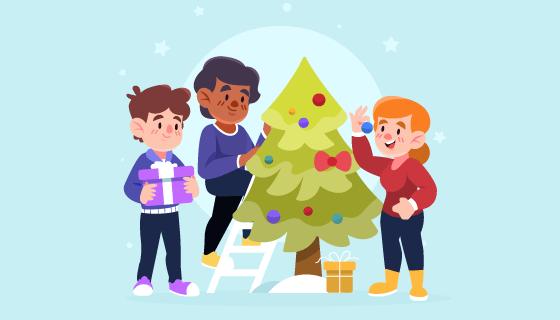 装饰圣诞树的人们矢量素材(AI/EPS)
