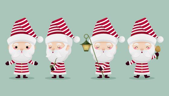 扁平风格可爱圣诞老人矢量素材(AI/EPS/PNG)