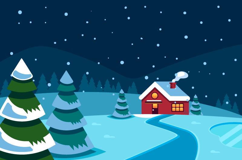 扁平风格冬天下雪景观矢量素材(AI/EPS)