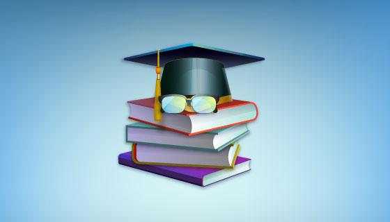 图书和学位帽矢量素材(EPS/AI)