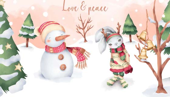 水彩风格兔子雪人圣诞节矢量素材(EPS)