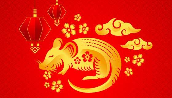金色2020鼠年新年快乐背景矢量素材(AI/EPS)