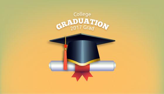 学位帽和学位证书矢量素材(EPS/AI)