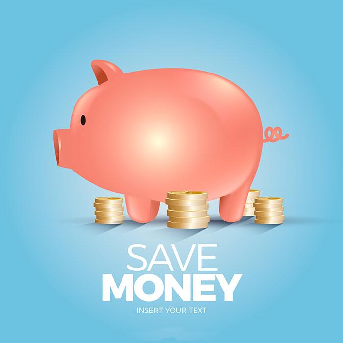 金币和小猪存钱罐矢量素材(EPS/AI)