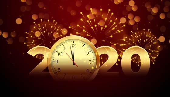 钟声焰火庆祝2020新年矢量素材(EPS)