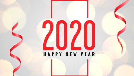 散景2020新年快乐背景矢量素材(EPS)