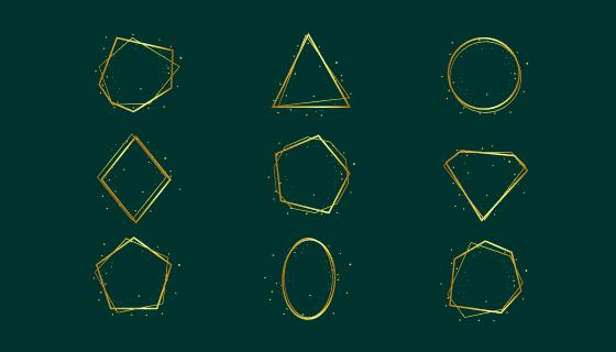各种形状的金色框架矢量素材(AI/EPS/PNG)