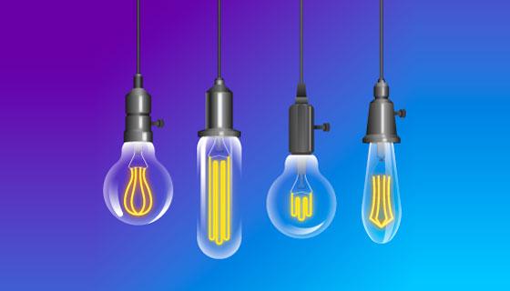逼真的灯泡矢量素材(AI/EPS/PNG)