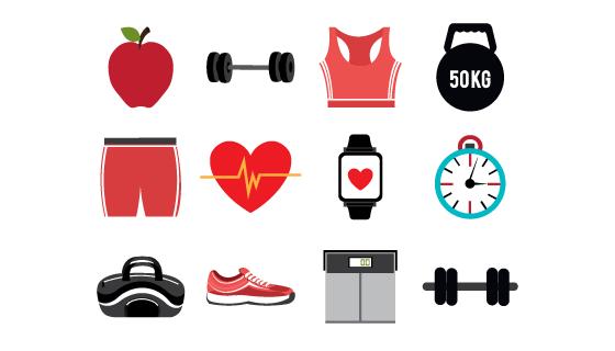 扁平风格健身类图标矢量素材(EPS/免扣PNG)