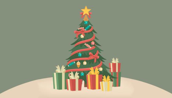 扁平风格漂亮圣诞树矢量素材(AI/EPS)