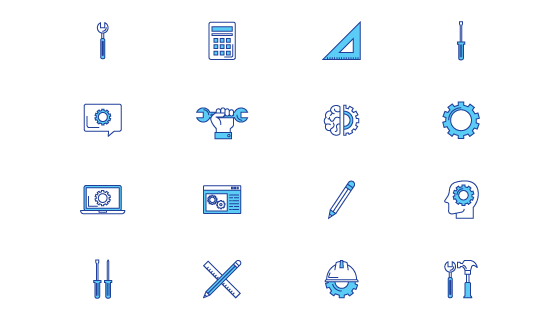 蓝色工程类图标矢量素材(EPS/PNG)