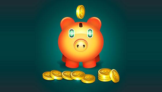 美元和小猪存钱罐矢量素材(EPS/AI)